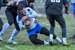 Rugby game players during the in first league championship in ukraine autumn Stock Photo