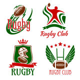Rugby game symbols for sporting design Royalty Free Stock Photos