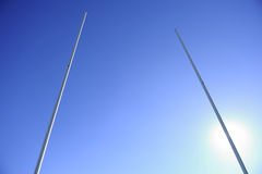 Rugby Goalpost Backlight Stock Photos