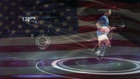 Rugby gracz trzyma bieg na stadium z flagą amerykańską na tle i piłkę