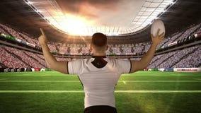 Rugby gracza odświętność z piłką ilustracja wektor