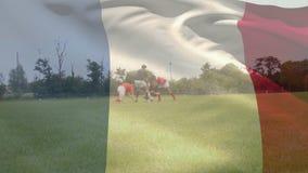 Rugby gracze bawić się rugby grę z francuzem zaznaczają
