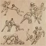RUGBY - An hand drawn vector collection. Line art pack of some s Stock Photos