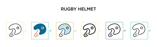 Rugby helmet vector icon in 6 different modern styles. Black, two colored rugby helmet icons designed in filled, outline, line and
