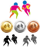 Rugby icon and sport medals Royalty Free Stock Photos