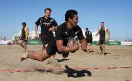 rugby internazionale la Zelanda della spiaggia nuovo Immagini Stock Libere da Diritti