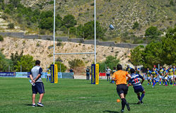 Rugby Kick. A player from Villajosa takes a penalty kick during the match against CRC Pozuelo Stock Photos