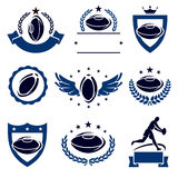 Rugby labels and icons set. Vector Royalty Free Stock Photo
