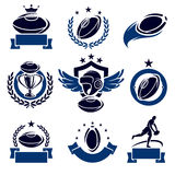 Rugby labels and icons set. Vector Stock Image