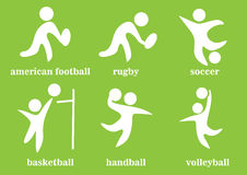 Rugby, le football, handball, voleyball, football américain, basket-ball, icône de sport collectif Images stock