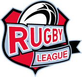 Rugby league ball shield. Illustration of a rugby ball set inside shield with words rugby league Stock Image