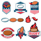 Rugby league. Rugby labels, emblems and design elements. Rugby c. Hampionship. Rugby icons. Vector design elements Royalty Free Stock Image