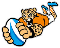 Rugby leopard mascot Stock Photography