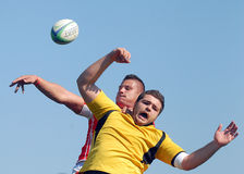 Rugby line-out in Dinamo Bucharest-CSM Bucharest Royalty Free Stock Image