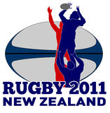 Rugby line-out new zealand 2011. Illustration of Rugby player catching lineout throw with ball in background and words rugby new zealand 2011 Royalty Free Stock Images