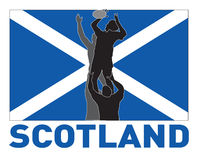 Rugby line-out scotland flag. Illustration of Rugby player catching lineout throw ball with scotland flag in background Royalty Free Stock Photos