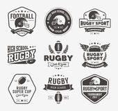 Rugby loga wektorowy kolorowy set, Futbolowy odznaka loga szablon Obrazy Stock