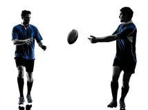 Rugby mężczyzna graczów sylwetka fotografia royalty free