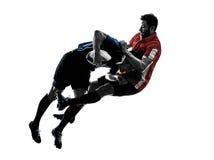Rugby mężczyzna graczów sylwetka fotografia stock