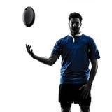 Rugby mężczyzna gracza sylwetka obraz stock