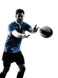 Rugby mężczyzna gracza sylwetka zdjęcia stock