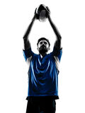 Rugby man player silhouette Royalty Free Stock Images