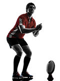 Rugby man player silhouette Royalty Free Stock Photos