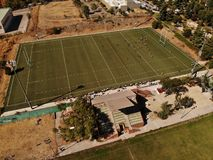 Drone view rugby match field stock images