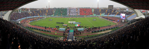 Rugby match Italy vs South Africa - Friuli Stadium Stock Image