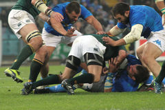 Rugby match Italy vs South Africa - tackle Stock Image