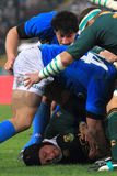 Rugby match Italy vs South Africa - tackle Royalty Free Stock Photography