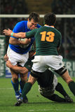 Rugby match Italy vs South Africa - tackle Stock Photo