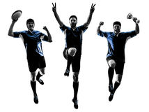 Rugby men players silhouette Royalty Free Stock Photo