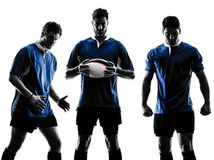 Rugby men players silhouette Royalty Free Stock Image