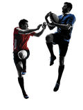 Rugby men players silhouette Stock Images