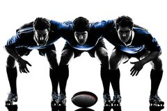 Rugby men players silhouette Stock Image