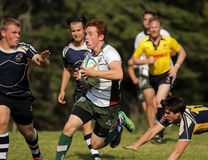 Rugby Men Run Speed Ball Stock Image