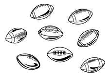 Rugby och amerikanska fotbollbollar Royaltyfria Bilder
