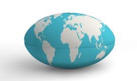 Rugby piłki Światowa mapa Na bielu Fotografia Royalty Free