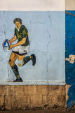Rugby picture on the wall Stock Photos