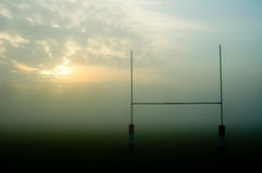 Rugby pitch on a foggy morning, UK Stock Images