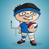 Rugby player. Draw in cartoon style Royalty Free Stock Photography