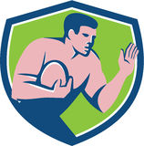Rugby Player Ball Fend Off Shield Retro Stock Photo
