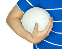 Rugby player with ball in hand. Against white background with copy space stock image