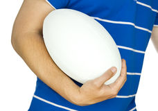 Rugby player with ball on white Royalty Free Stock Image