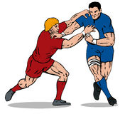 Rugby player being tackled 2. Illustration of a rugby player being tackled stock illustration