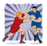 Rugby player being tackled. Illustration of a rugby player being tackled vector illustration