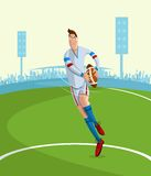 Rugby Player. Cartoon style rugby player in vector Royalty Free Stock Photography