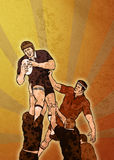 Rugby player catching ball lineout Stock Photos