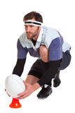 Rugby player cut out on white Royalty Free Stock Photo